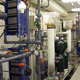 Pipework, plate heat exchangers, pumps and a variety of equipment and process control installed by Weatherfoil at Australia Antarctic Division Headquaters, Krill research laboratory Kingston.