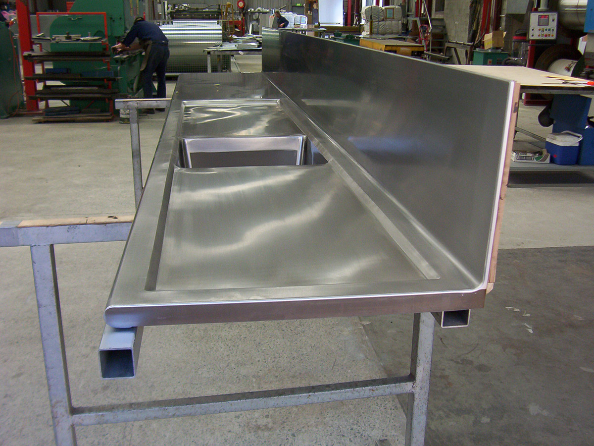 Custom Built Stainless Steel Bench And Sink Unit Completed In The Workshop